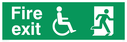 Fire Exit sign, with man in wheelchair and running man symbol - wheelchair and running man symbol in white on green background Text: Fire Exit