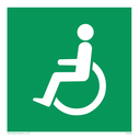 fire exit / emergency exit sign with wheelchair facing left / disabled symbol Text: None