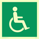 fire exit / emergency exit sign with whelchair facing right / disabled symbol Text: None