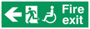 """fire exit sign with running man & disabled / wheelchair symbol facing left, with arrow pointing left"" Text: fire exit"