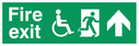 """fire exit sign with running man & disabled / wheelchair symbol facing right, with arrow pointing up"" Text: fire exit"