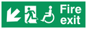 """fire exit sign with running man & disabled / wheelchair symbol facing left, with arrow pointing diagonally down & left"" Text: fire exit"