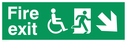 """fire exit sign with running man & disabled / wheelchair symbol facing right, with arrow pointing diagonally down & right"" Text: fire exit"