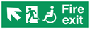 """fire exit sign with running man & disabled / wheelchair symbol facing left, with arrow pointing diagonally up & left"" Text: fire exit"