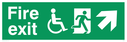"""fire exit sign with running man & disabled / wheelchair symbol facing right, with arrow pointing diagonally up & right"" Text: fire exit"