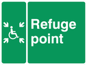 wheelchair / disabled symbol with arrows pointing inwards - sign Text: refuge point