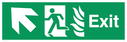 NHS Estates fire exit / emergency exit sign with arrow diagonally up & left with running man facing left and flames symbol - safety sign Text: Exit