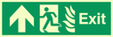 fire exit / emergency exit sign with arrow up with running man facing left and flames symbol - safety sign Text: Exit