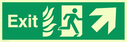 fire exit / emergency exit sign with arrow diagonally up & right with running man facing right and flames symbol - safety sign Text: Exit