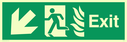 <p>fire exit / emergency exit sign with arrow diagonally down & left with running man facing left and flames symbol - safety sign</p> Text: Exit