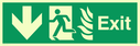 fire exit / emergency exit sign with arrow down with running man facing left and flames symbol - safety sign Text: Exit