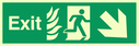 fire exit / emergency exit sign with arrow diagonally down & right with running man facing right and flames symbol - safety sign Text: Exit