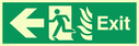 fire exit / emergency exit sign with arrow left with running man facing left and flames symbol - safety sign Text: Exit