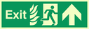 fire exit / emergency exit sign with arrow up with running man facing right & flames symbol - safety sign Text: Exit
