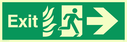 fire exit / emergency exit sign with arrow right with running man facing right and flames symbol - safety sign Text: Exit