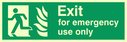 fire exit / emergency exit sign with running man facing left and flames symbol - safety sign Text: Exit for emergency use only