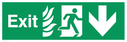fire exit / emergency exit sign with arrow down with running man facing right and flames symbol - safety sign Text: Exit