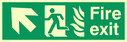 fire exit / emergency exit sign with arrow diagonally up & left with running man facing left and flames symbol - safety sign Text: Fire exit