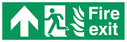 fire exit / emergency exit sign with arrow up with running man facing left and flames symbol - safety sign Text: Fire exit