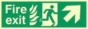 fire exit / emergency exit sign with arrow diagonally up & right with running man facing right and flames symbol - safety sign Text: Fire exit