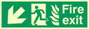 fire exit / emergency exit sign with arrow diagonally down & left with running man facing left and flames symbol - safety sign Text: Fire exit