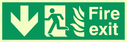 fire exit / emergency exit sign with arrow down with running man facing left and flames symbol - safety sign Text: Fire exit