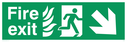 fire exit / emergency exit sign with arrow diagonally down & right with running man facing right and flames symbol - safety sign Text: Fire exit