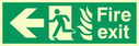 fire exit / emergency exit sign with arrow left with running man facing left and flames symbol - safety sign Text: fire exit