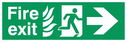 fire exit / emergency exit sign with arrow right with running man facing right and flames symbol - sign Text: Fire exit