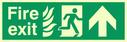 fire exit / emergency exit sign with arrow up with running man facing right and flames symbol - sign Text: Fire exit