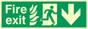 fire exit / emergency exit sign with arrow down with running man facing right and flames symbol -sign Text: Fire exit