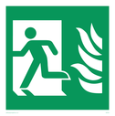 fire exit / emergency exit sign with running man facing left and flames symbol only - sign Text: none