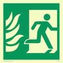 fire exit / emergency exit sign with running man facing right and flames symbol only - sign Text: none