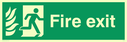 fire exit / emergency exit sign with running man facing right with flames symbol - sign Text: Fire exit
