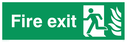 fire exit / emergency exit sign with running man facing left with flames symbol - sign Text: Fire exit