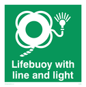 <p>Lifebuoy with line and light symbol</p> Text: Lifebuoy with line and light