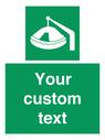 <p>Custom sign Safe condition Davit-launched liferaft</p> Text: