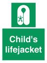 <p>Child's lifejacket</p> Text: