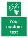 <p>Custom sign safe condition 2way VHF radio</p> Text: