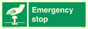 <p>Emergency stop hand pushing button</p> Text: emergency stop