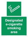designated e-cigarette area Text: designated e-cigarette smoking area