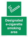 e-cigarette Text: designated e-cigarette smoking area