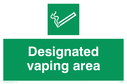 <p>Designated vaping area</p> Text: Designated vaping area e-cigarettes allowed