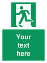Custom Emergency Exit Left Sign. Add your own custom text. Normal delivery times apply. Green Man Left Symbol. This symbol and sign layout complies with new EN7010 legislation that governs safety signs. Text: Your text here - just add to your order and fill in the 'special instructions' box at the basket to confirm your required text.