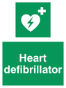 <p>Green background, with white text and heart defibrillator symbol - white cross and heart with lighting bolt in green.</p> Text: Heart defibrillator