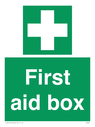 <p>First aid box with first aid cross symbol</p> Text: first aid box