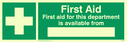 first aid cross symbol with space to write name Text: first aid for this department is available from