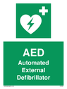 Green background, with white text and heart defibrillator symbol - white cross and heart with lighting bolt in green. Text: AED Automated External Defibrillator