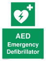 Green background, with white text and heart defibrillator symbol - white cross and heart with lighting bolt in green. Text: AED Emergency Defibrillator