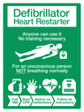 <p>This new design of defibrillator signage has been developed by the British Heart Foundation in collaboration with the Recusitation Council. The aim is to make it easier to understand if people are unsure what the current terminology 'AED' or 'defibrillator' means.</p> Text: Defibrillator Heart Restarter. Anyone can use it. No training necessary. For an unconscious person NOT breathing normally - Call 999, Start CPR, Switch on defibrillator, Follow its instructions